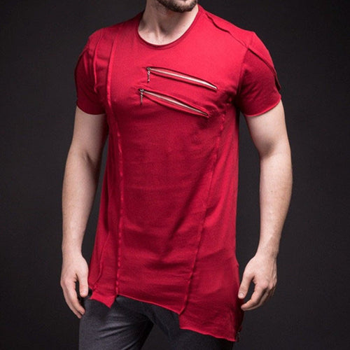 Men's Summer Stitching Red Short Sleeve T-Shirt