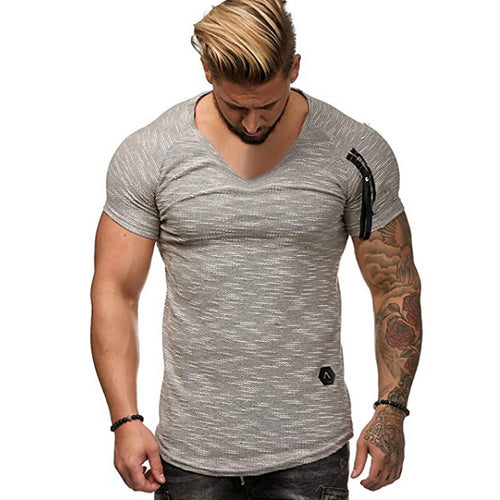 2019 Summer Pattern Pit V-Neck Pattern Arm Zipper T-Shirt