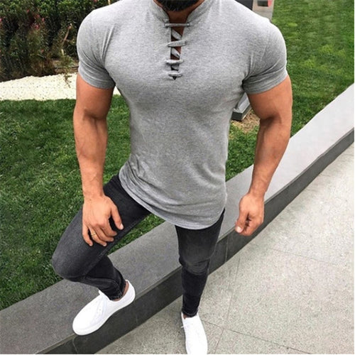 Casual Solid Color Rope Keyhole Short Sleeves Polo T-Shirt