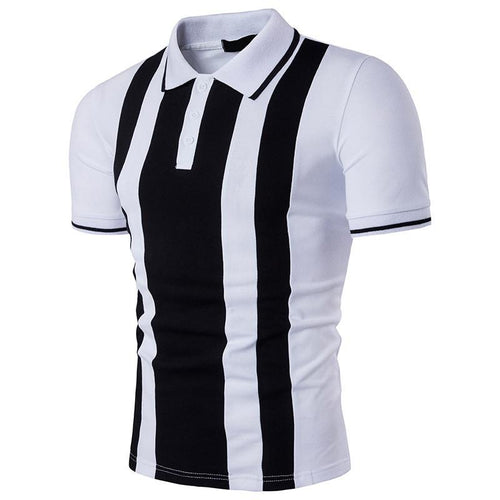 Daily Black And White Stripes Short Sleeves Polo Shirts