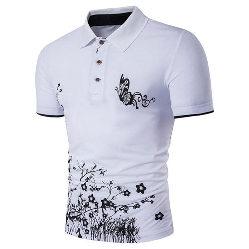 Daily Lapel Flower Printing Casual Short Sleeves T-Shirt