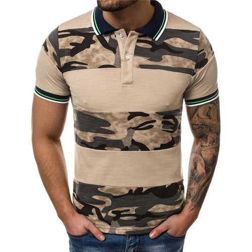 Fashion Camouflage Printed Split Joint Polo Shirts