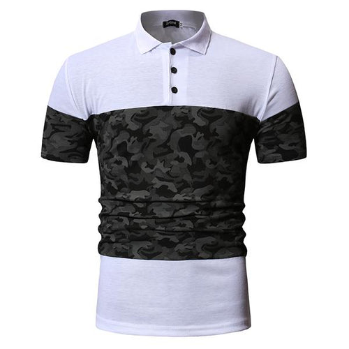 Men's Fashion Colorblock Slim Lapel T-Shirt Polo