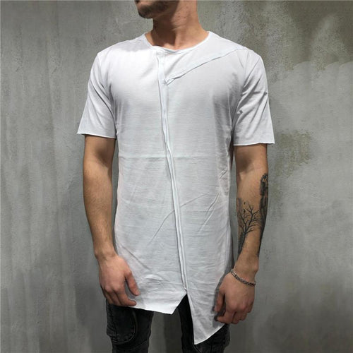 Fashion Round Neck Solid Color Split Joint Irregularity T-Shirt