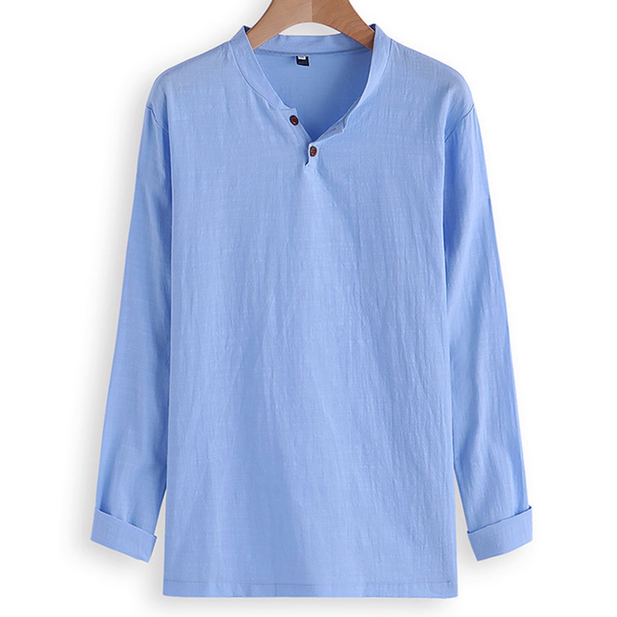 689085b5 Mens Casual Linen V-Neck Chinese Collar Long Sleeve T-Shirt Fashion Solid  Color Tops