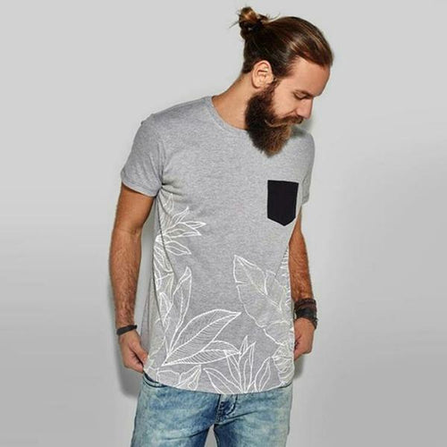 Men's Fashion Colorblock Pocket Print T-Shirt