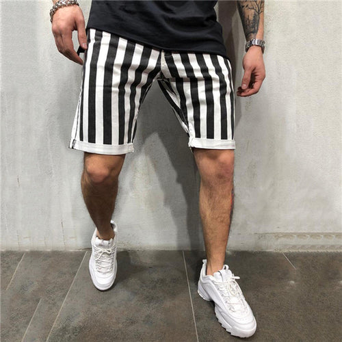 Casual Loose Black And White Striped Bodybuilding Shorts