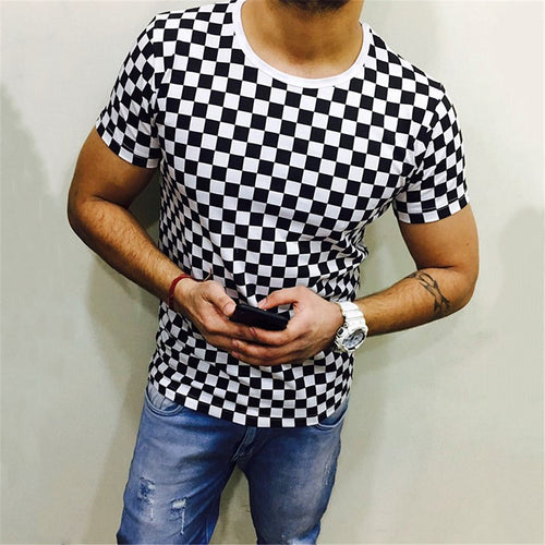 Casual Fashion Round Neck Printed Plaid Men's Short-Sleeved T-Shirt