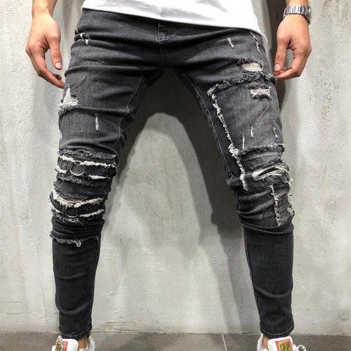 Casual Slim-Fit Denim Men's Trousers Ripped Jeans