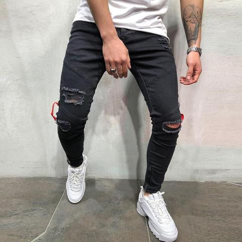 Street Style Fashion Ribbon Slim-Fit Ripped Jeans
