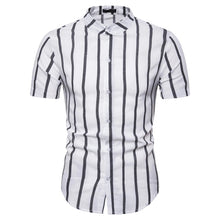 Load image into Gallery viewer, Stand Collar Striped Men's Casual Short Sleeve Shirt Top