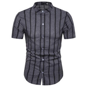 Stand Collar Striped Men's Casual Short Sleeve Shirt Top
