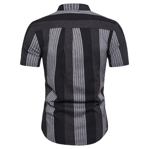 Fashion Lapel Strip Printed Short Sleeves Shirt