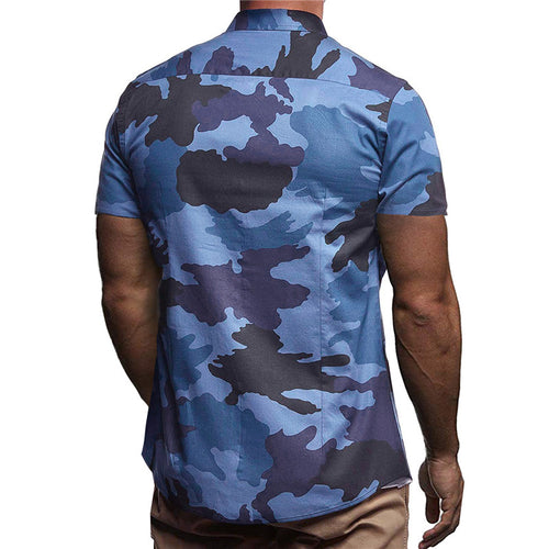 Summer Lapel Camouflage Printed Short Sleeves Shirt