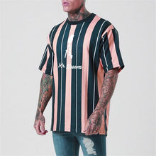 Load image into Gallery viewer, Casual Round Neck Strip Printed Short Sleeves T-Shirt