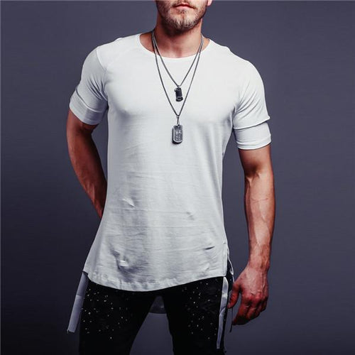 Summer Round Neck Irregularity Split Joint Solid Color Webbing T-Shirt