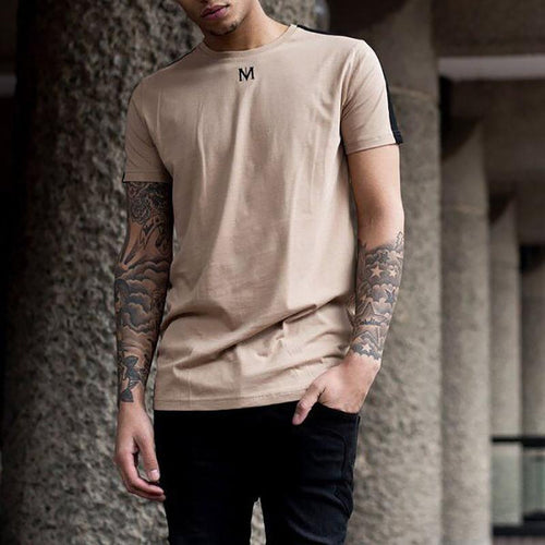 Fashion Casual  Round Neck Short Sleeve Ventilate Pure Colour T-Shirt