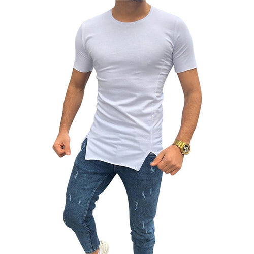 Daily Round Neck Solid Color Short Sleeves Slim T-Shirt