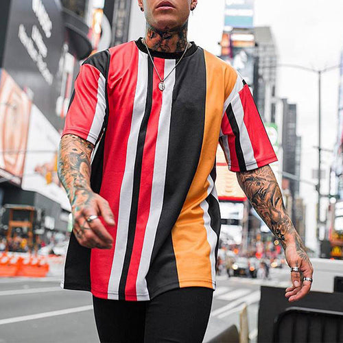 Street Style Colorblock Striped Print Short Sleeve T-Shirt