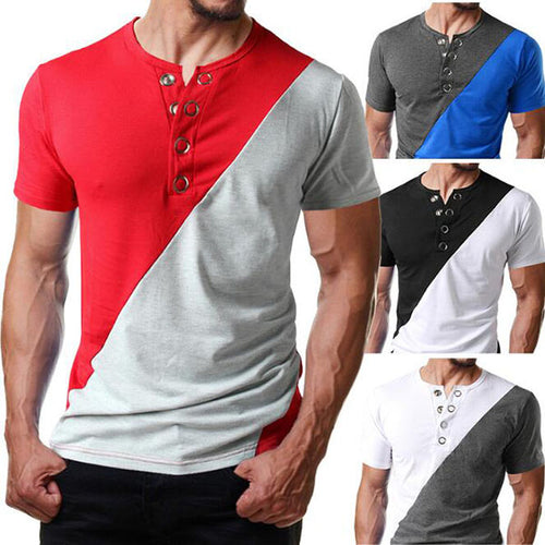 Men's Fashion Casual Color Matching Short-Sleeved T-Shirt