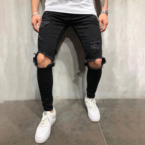 Fashion Casual Broken Hole Slim Fit Jeans