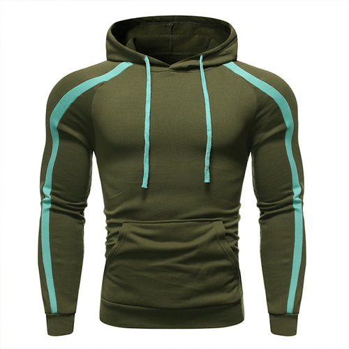 Casual Sports Slim Fit Contrast Color Hooded Sweatshirt
