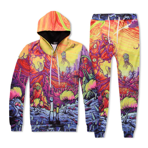 Fashion Rick And Morty Printed Hooded Sweater Pants Jumpsuits