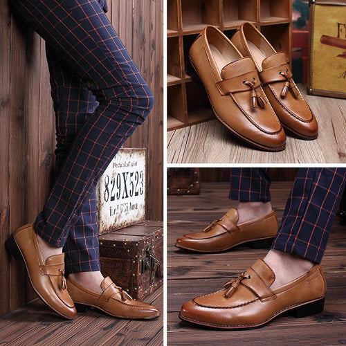 Fashion Tassel Pointy Scallops Solid Color Men Oxfords