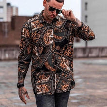 Load image into Gallery viewer, Men's Long-Sleeved Lapel Printed Casual Shirts