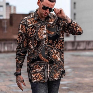 Men's Long-Sleeved Lapel Printed Casual Shirts