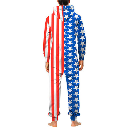 Fashion American Flag Printed Double-Headed Zipper Loose Jumpsuits