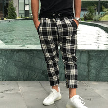 Load image into Gallery viewer, Men'S Elastic Waist Plaid Casual Pants