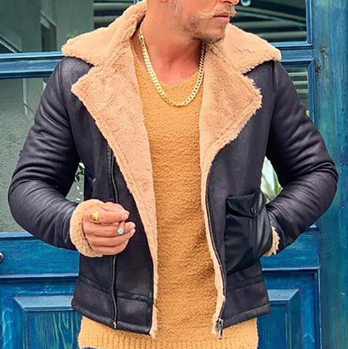 Mens Fashion Turndown Collar Faux Leather Jacket