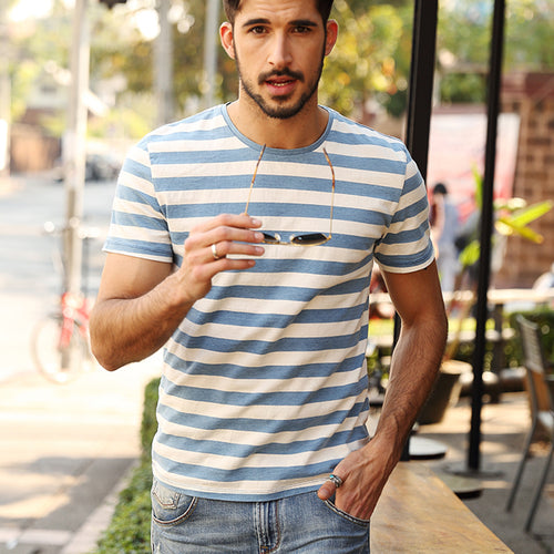 Short Sleeve T-Shirt With Casual Stripes And Old Collision Colors