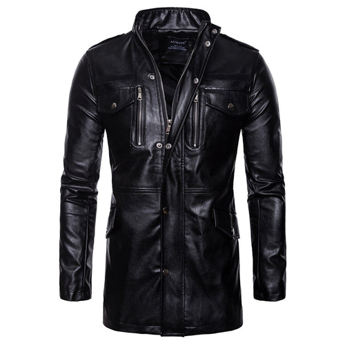 Mid-Length Collar Four-Pocket Locomotive Leather Jacket
