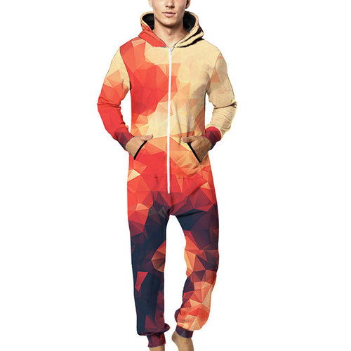 Fashion Three-Dimensional Printed Hooded Loose Jumpsuits