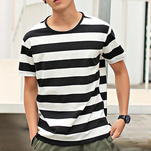 Men's Striped Round Neck Short Sleeve T-Shirt