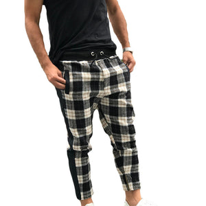 Men'S Elastic Waist Plaid Casual Pants
