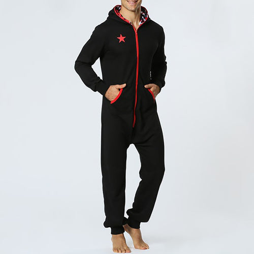 Sports Casual Star Pattern Hooded Jumpsuit