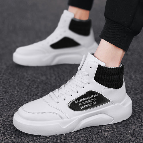 Sportive men's mixed color high-top street dance shoes