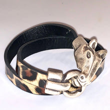 Horse Head Shiny Leopard Double Wrap Bracelet