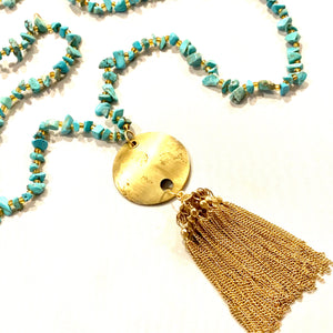 Turquoise Chip and Vintage Gold Tassel Necklace