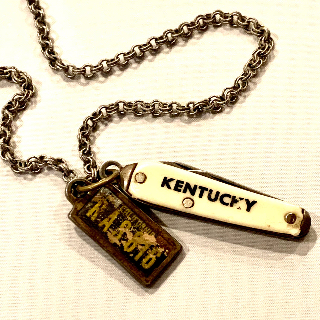 KY  to CA Vintage Pocket Knife Necklace