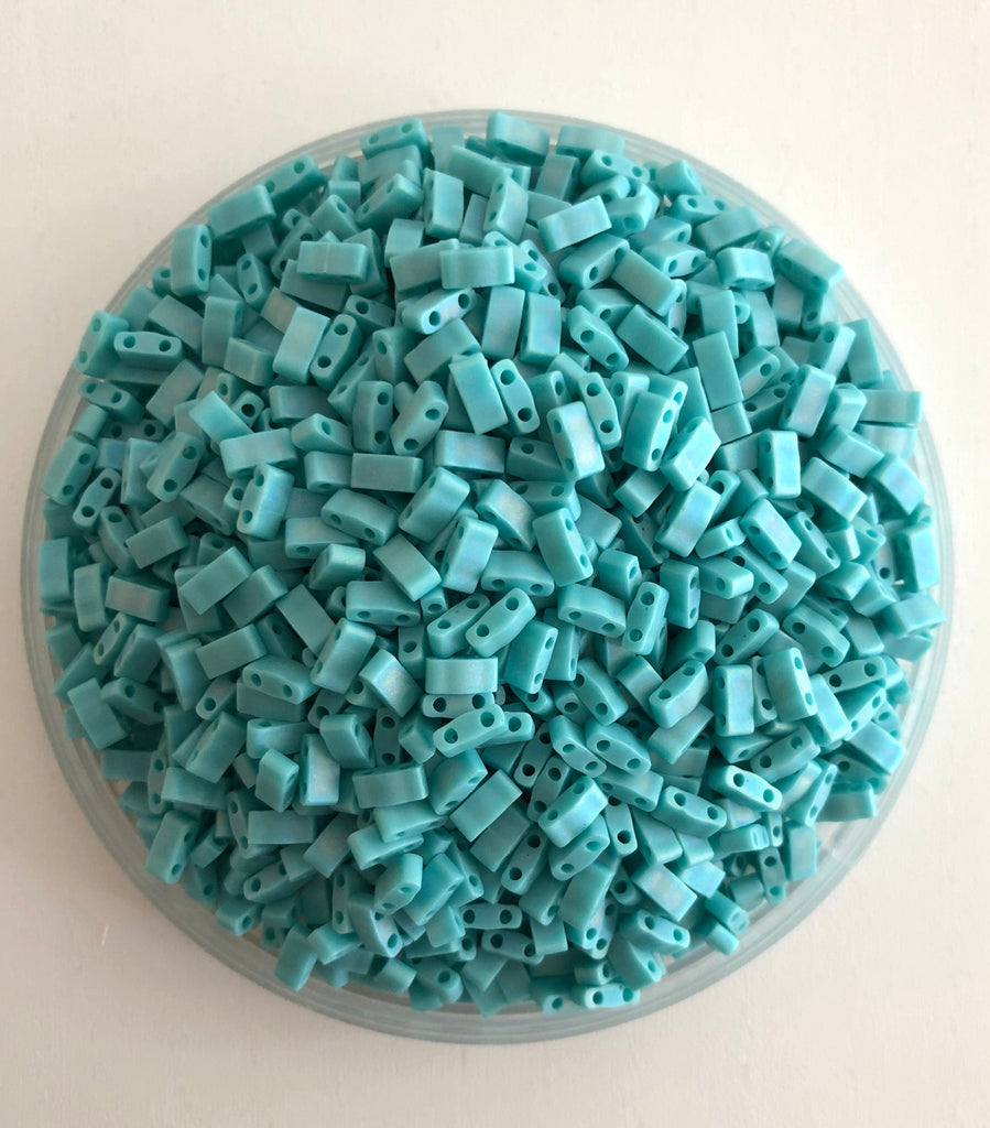Miyuki Half Tila Beads HTL0412FR Opaque Turquoise Green Matted AB,