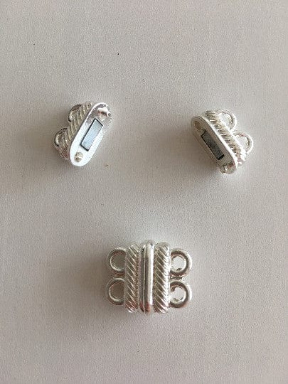 Multi Strand Magnetic Clasp Silver Plated-2 Loop