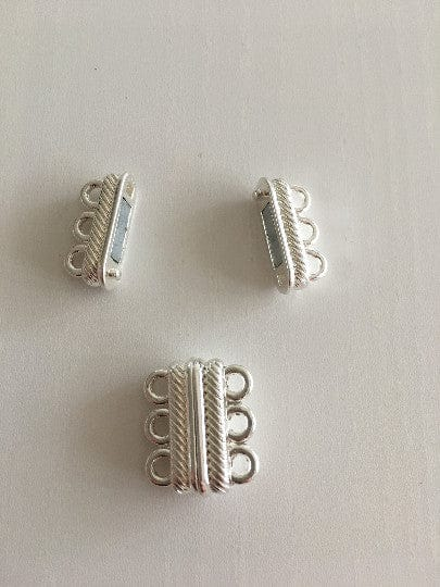 Multi Strand Magnetic Clasp Silver Plated-3 Loop