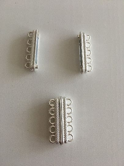 Multi Strand Magnetic Clasp Silver Plated-5 Loop