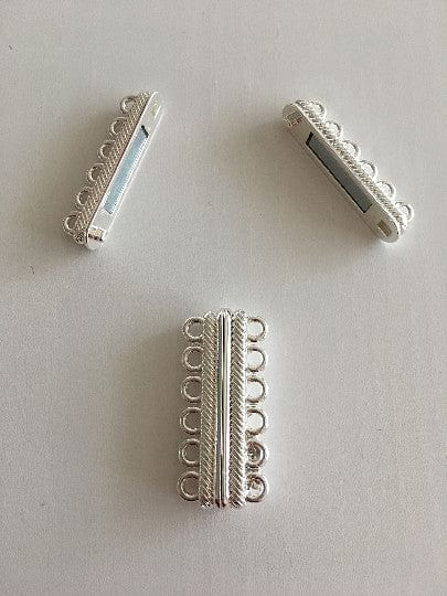 Multi Strand Magnetic Clasp Silver Plated-6 Loop