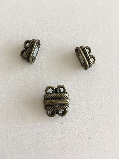 Multi Strand Magnetic Clasp Antique Gold Plated-2 Loop