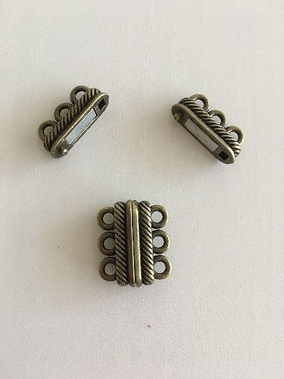 Multi Strand Magnetic Clasp Antique Gold Plated-3 Loop